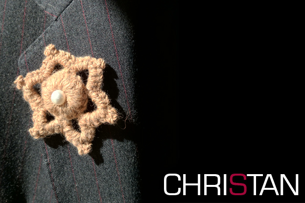 Bronze Star with Pearl Crochet Brooch